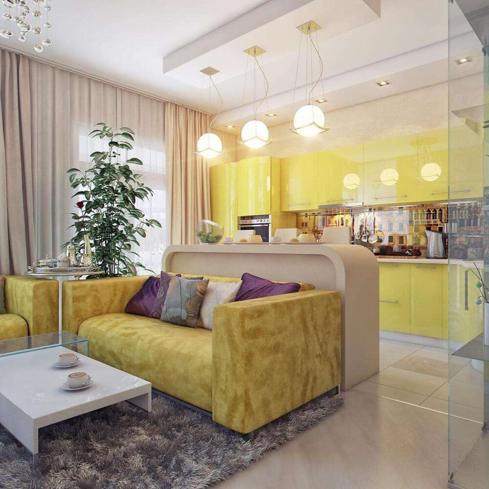 кухня-гостиная желтых тонов